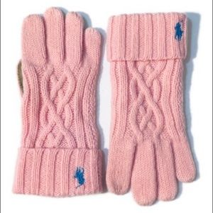 Ralph Lauren Girls Pink Knit Wool Gloves